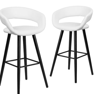 Brynn Series 29 inch Bar Stool Upholstery: White