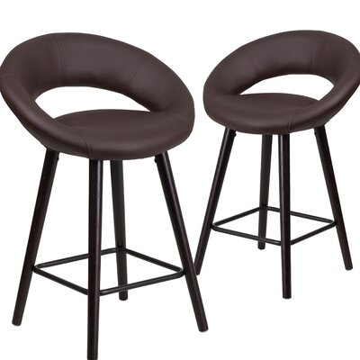 Dilworth 24 Bar Stool Upholstery: Brown
