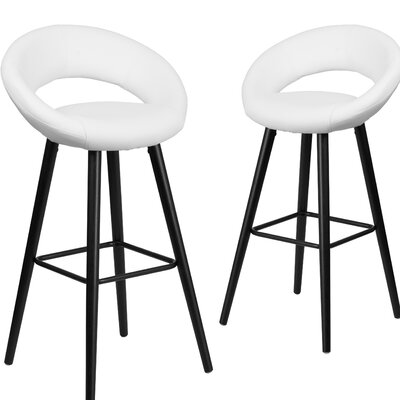 Dilworth 29 Bar stool Upholstery: White