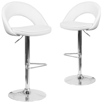 Nealey Adjustable Height Swivel Bar Stool Upholstery: White