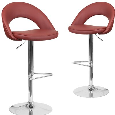 Nealey Adjustable Height Swivel Bar Stool Upholstery: Burgundy