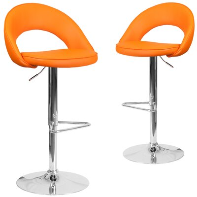 Nealey Adjustable Height Swivel Bar Stool Upholstery: Orange
