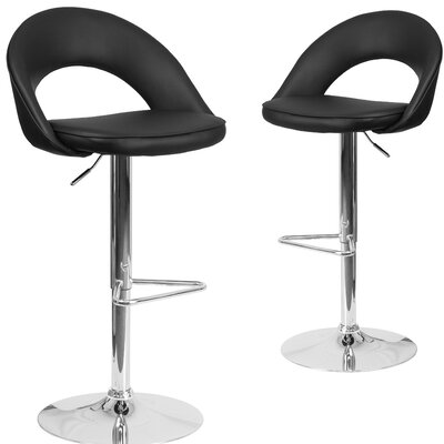 Nealey Adjustable Height Swivel Bar Stool Upholstery: Black