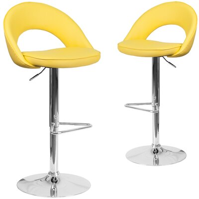 Nealey Adjustable Height Swivel Bar Stool Upholstery: Yellow
