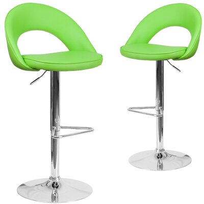 Nealey Adjustable Height Swivel Bar Stool Upholstery: Green