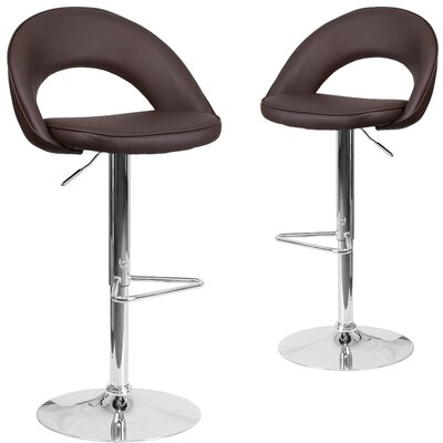 Nealey Adjustable Height Swivel Bar Stool Upholstery: Brown