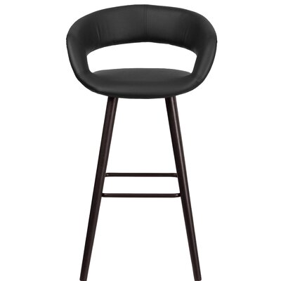 Brynn Series 30 Bar Stool Upholstery: Black