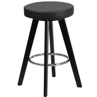 Salerno 24 Bar Stool Upholstery: Black