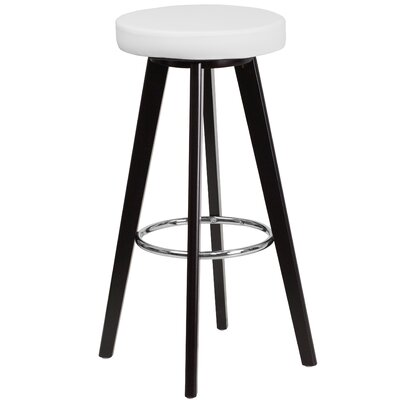 Trenton Series 30 inch Bar Stool Upholstery: White