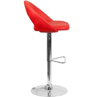 Nealy Adjustable Height Swivel Bar Stool Upholstery: Red