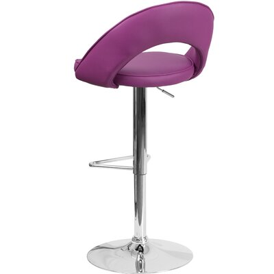 Nealy Adjustable Height Swivel Bar Stool Upholstery: Purple