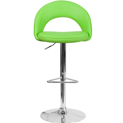 Nealy Adjustable Height Swivel Bar Stool Upholstery: Green