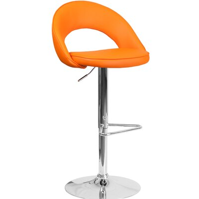 Nealy Adjustable Height Swivel Bar Stool Upholstery: Orange