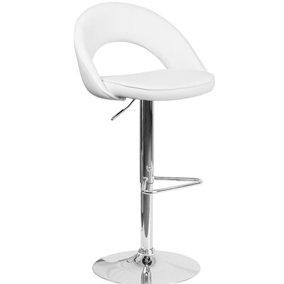 Adjustable Height Swivel Bar Stool Upholstery: White