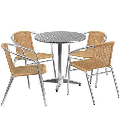 5 Piece Bistro Set Finish: Beige
