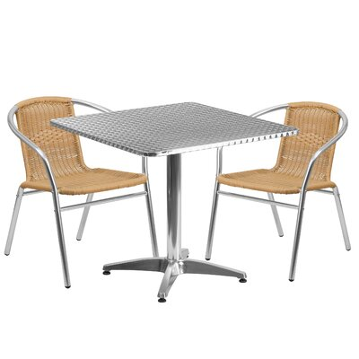 3 Piece Bistro Set Finish: Beige, Table Size: 23.5
