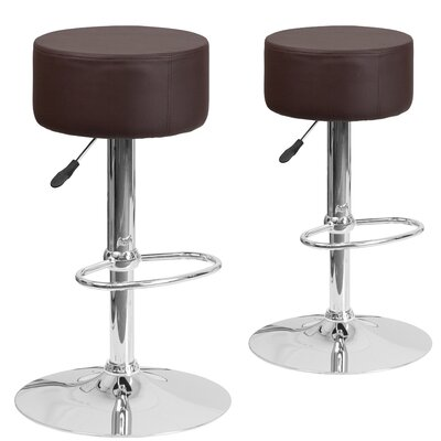 Neary Adjustable Height Swivel Bar Stool Upholstery: Brown