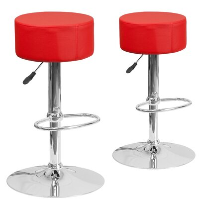 Neary Adjustable Height Swivel Bar Stool Upholstery: Red