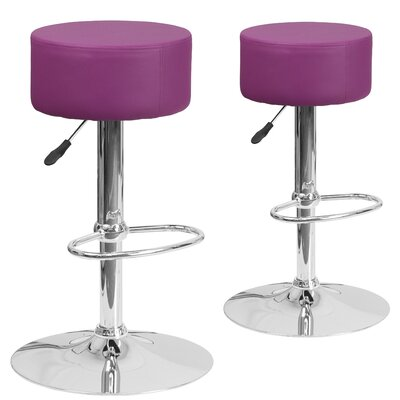 Neary Adjustable Height Swivel Bar Stool Upholstery: Purple