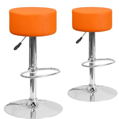 Neary Adjustable Height Swivel Bar Stool Upholstery: Orange