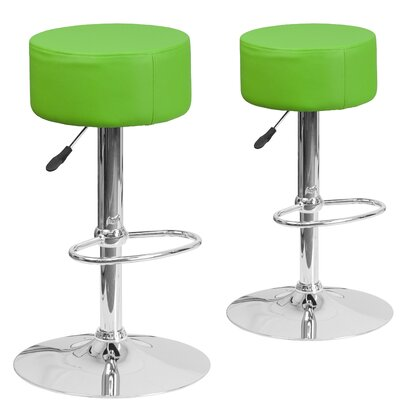 Neary Adjustable Height Swivel Bar Stool Upholstery: Green