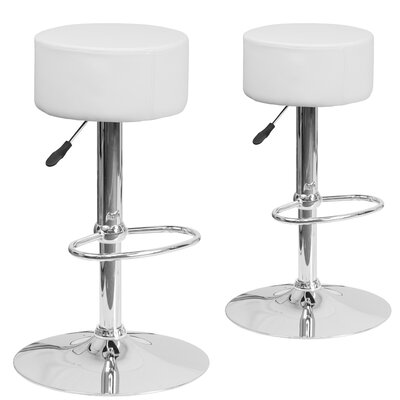Neary Adjustable Height Swivel Bar Stool Upholstery: White