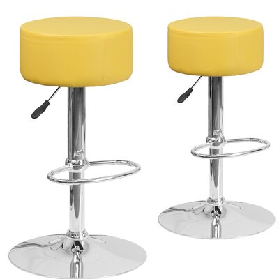 Neary Adjustable Height Swivel Bar Stool Upholstery: Yellow