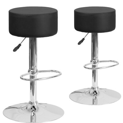 Neary Adjustable Height Swivel Bar Stool Upholstery: Black