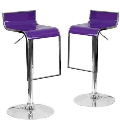 Nempnett Thrubwell Adjustable Height Swivel Bar Stool Upholstery: Purple