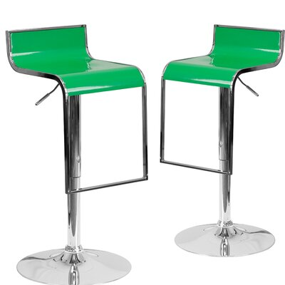 Nempnett Thrubwell Adjustable Height Swivel Bar Stool Upholstery: Green