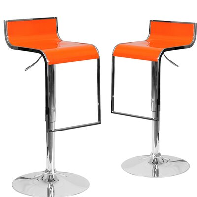 Nempnett Thrubwell Adjustable Height Swivel Bar Stool Upholstery: Orange