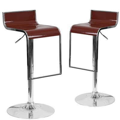 Nempnett Thrubwell Adjustable Height Swivel Bar Stool Upholstery: Burgundy