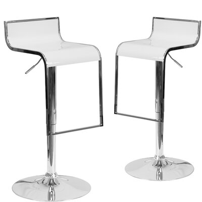 Nempnett Thrubwell Adjustable Height Swivel Bar Stool Upholstery: White