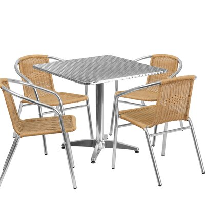 5 Piece Dining Set Finish: Black, Table Size: 23.5