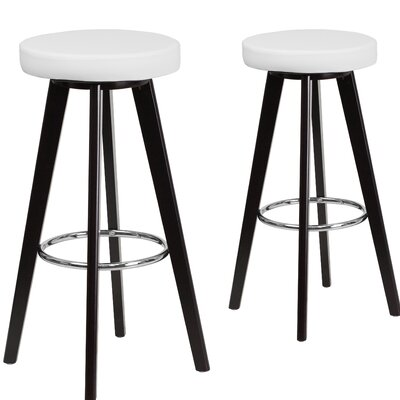 Salerno 30 Bar Stool Upholstery: White