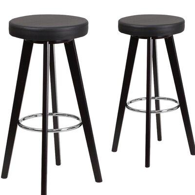 Trenton Series 30 inch Bar Stool Upholstery: Black