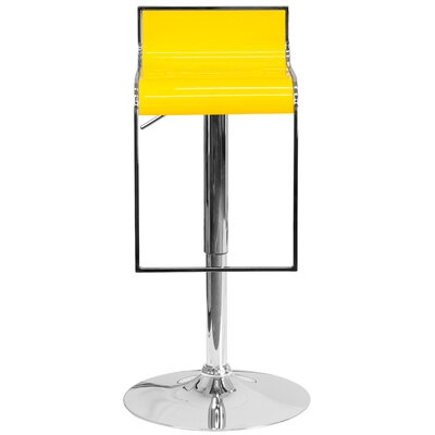 Newton St Loe Adjustable Height Swivel Bar Stool Upholstery: Yellow