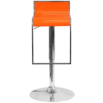 Newton St Loe Adjustable Height Swivel Bar Stool Upholstery: Orange