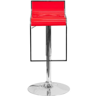 Newton St Loe Adjustable Height Swivel Bar Stool Upholstery: Red