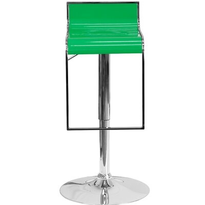 Newton St Loe Adjustable Height Swivel Bar Stool Upholstery: Green