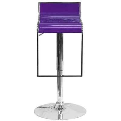 Adjustable Height Swivel Bar Stool Upholstery: Purple