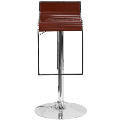 Newton St Loe Adjustable Height Swivel Bar Stool Upholstery: Burgundy