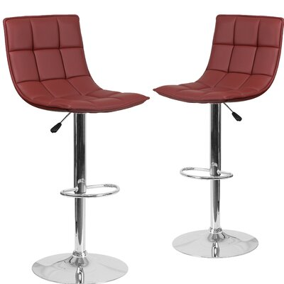 Nicarete Adjustable Height Swivel Bar Stool Upholstery: Burgundy