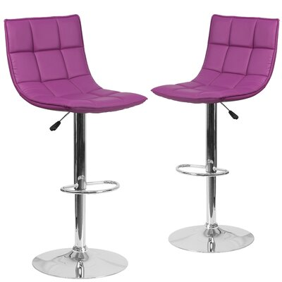 Nicarete Adjustable Height Swivel Bar Stool Upholstery: Purple
