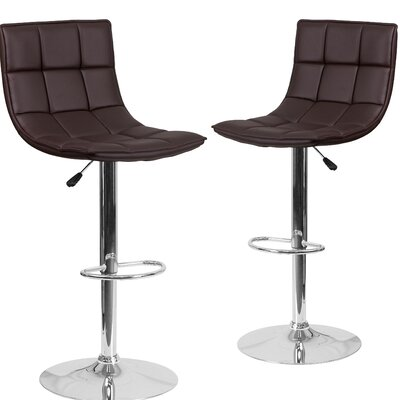 Nicarete Adjustable Height Swivel Bar Stool Upholstery: Brown
