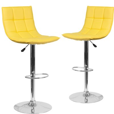 Nicarete Adjustable Height Swivel Bar Stool Upholstery: Yellow