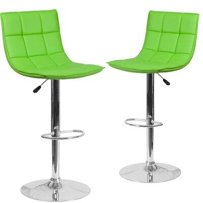 Nicarete Adjustable Height Swivel Bar Stool Upholstery: Green