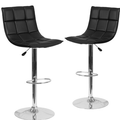 Nicarete Adjustable Height Swivel Bar Stool Upholstery: Black