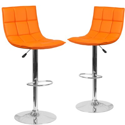 Nicarete Adjustable Height Swivel Bar Stool Upholstery: Orange