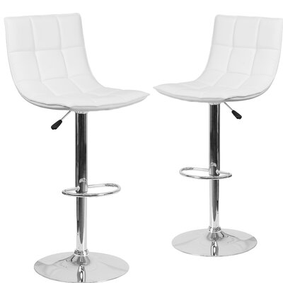 Nicarete Adjustable Height Swivel Bar Stool Upholstery: White